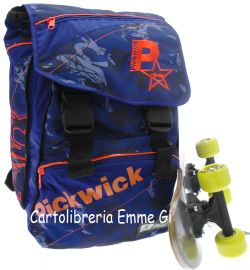 ZAINO PICKWICK ESTENSIBILE 52375 BLU + SKATEBOARD IN OMAGGIO