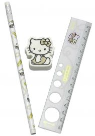 SET MATITA + RIGHELLO + GOMMA HELLO KITTY SET BIANCO